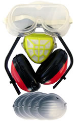 Ear Muff-Goggle-Dust Mask Set $7.90